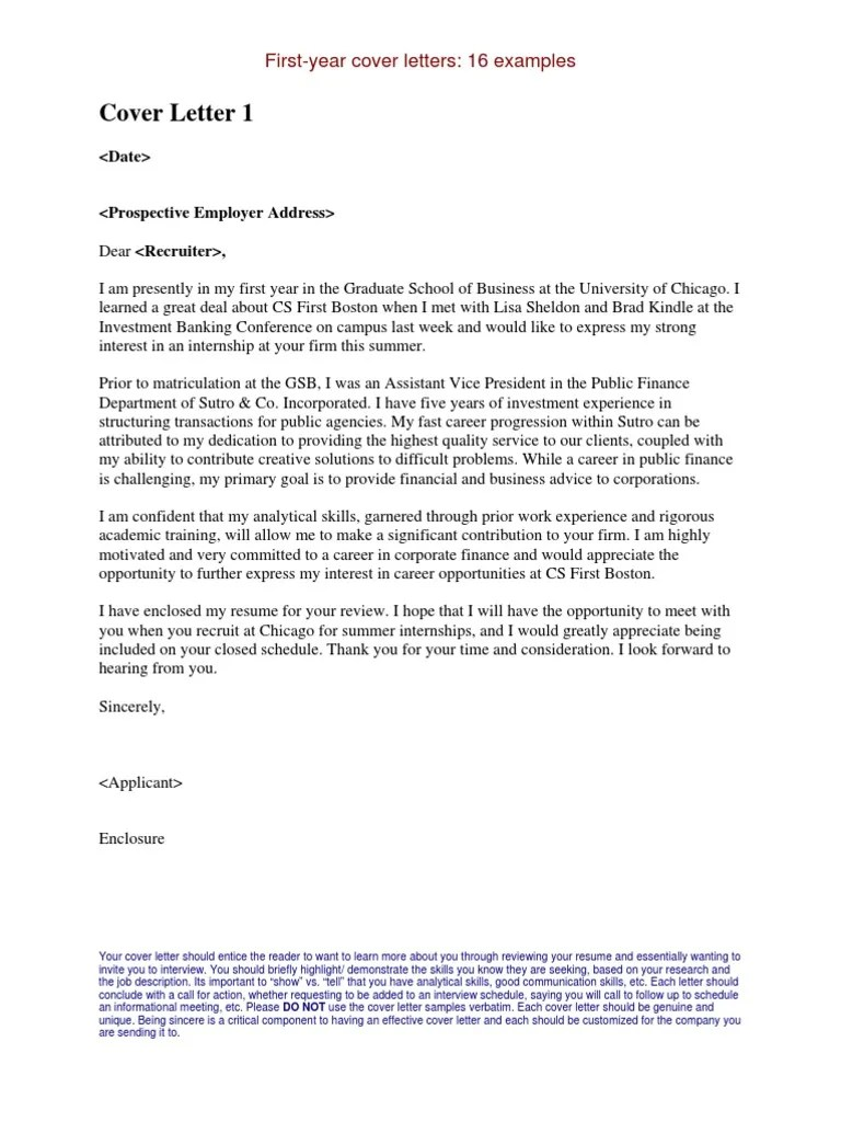 Internship Cover Letters Examples  Master Of Business Administration  Internship