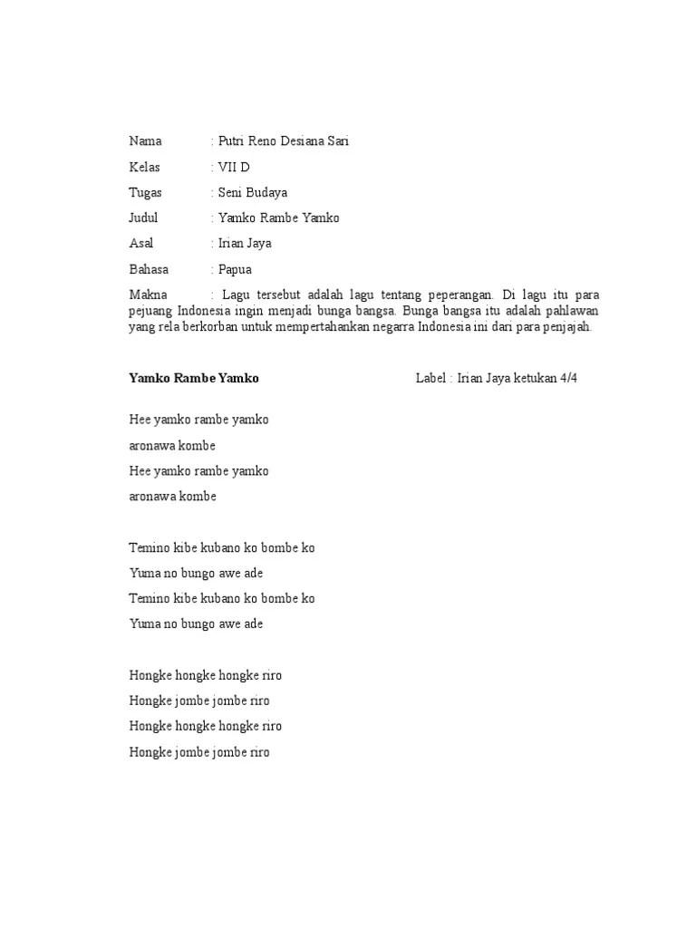 Lirik Dan Makna Lagu Yamko Rambe Yamko - Materi Belajar
