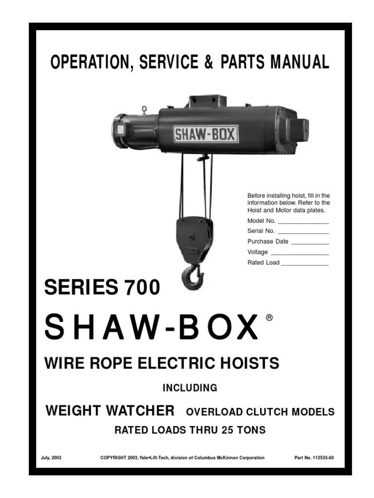 medium resolution of manual shaw box serie 700 pdf elevator switchshaw box hoist wiring diagram 8