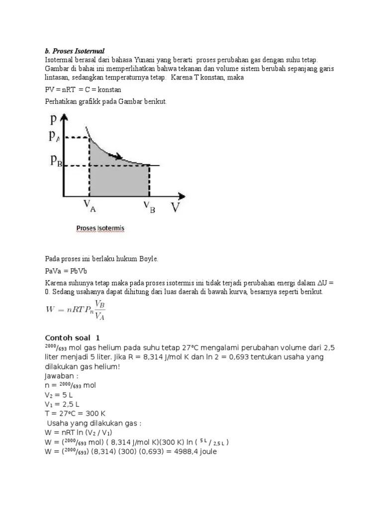 Adapun buku ajar ini terdiri dari 12 bab. Contoh Soal Proses Termodinamika (Isotermal)