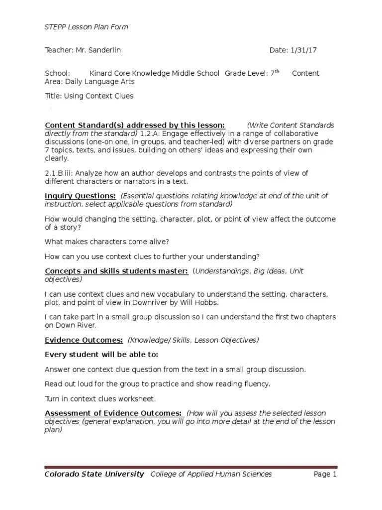 downriver lesson plan 1   Lesson Plan   Educational Assessment [ 1024 x 768 Pixel ]
