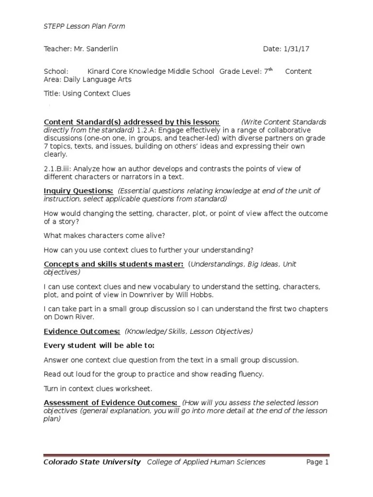 small resolution of downriver lesson plan 1   Lesson Plan   Educational Assessment