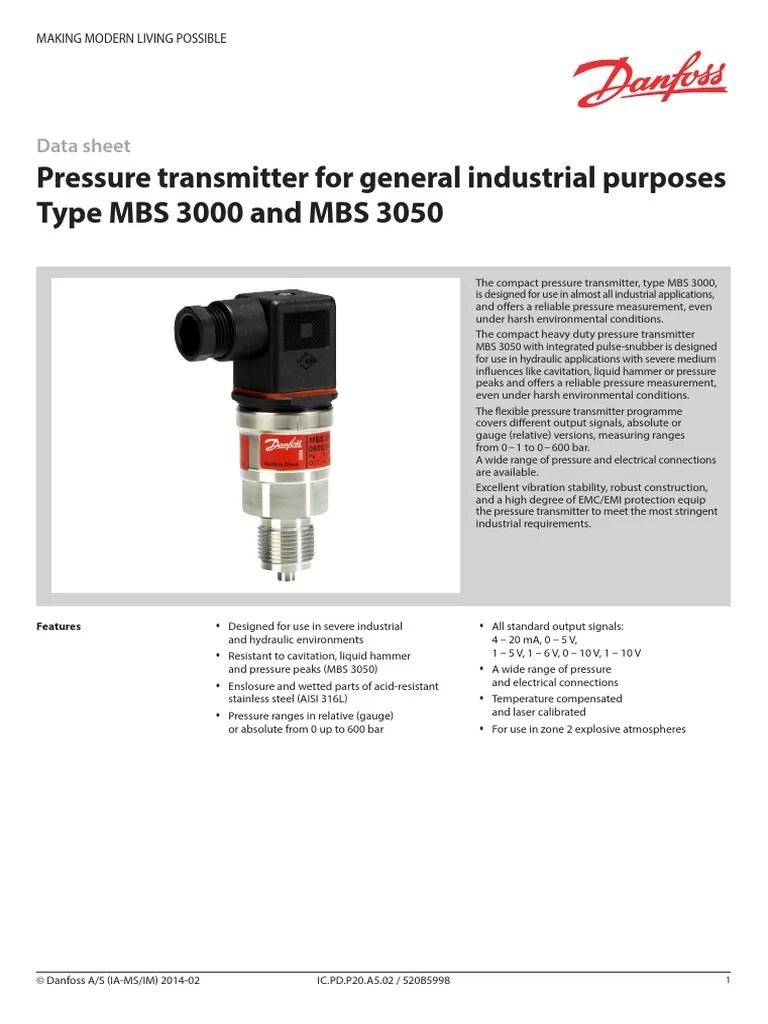 danfoss pressure transmitter mbs 3000 wiring diagram johnson controls fec ic pd p20 a5 02 electrical connector liquids