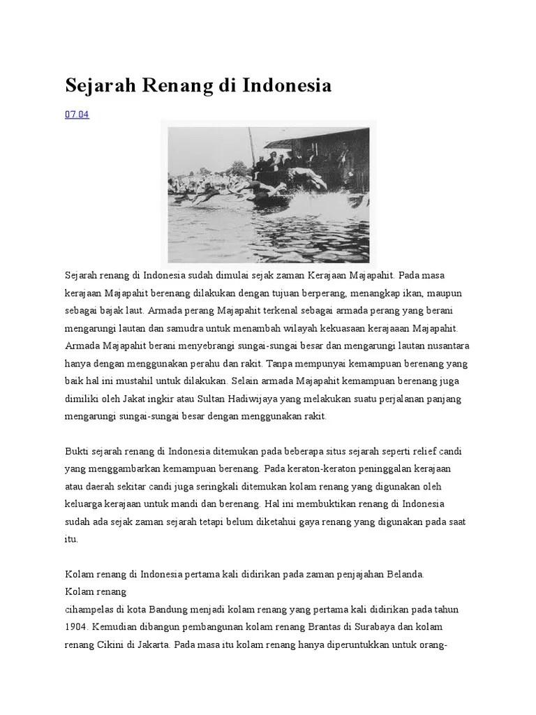 Sejarah Berenang : sejarah, berenang, Sejarah, Renang, Indonesia