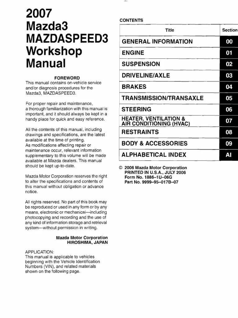 medium resolution of 1st gen mazda3 mazdaspeed3 workshop manual troubleshooting medical diagnosis