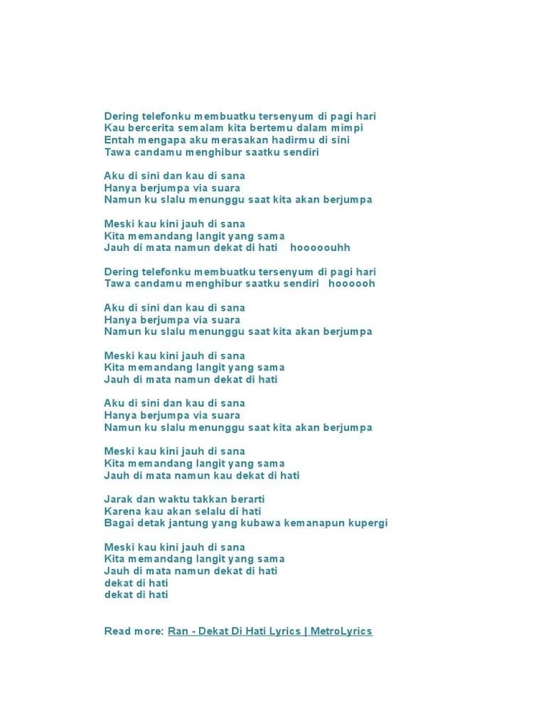 Lirik Ran Dekat Di Hati : lirik, dekat, Dering, Telefonku, Membuatku, Tersenyum, Hari.docx