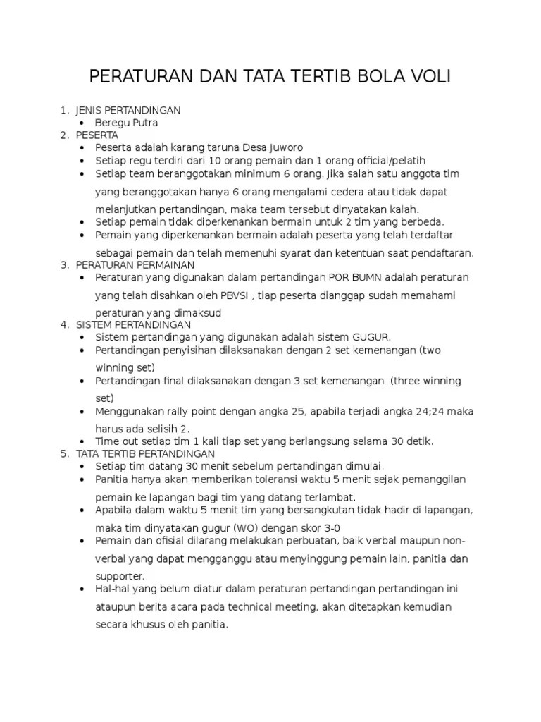 Peraturan Pertandingan Voli : peraturan, pertandingan, Peraturan, Tertib