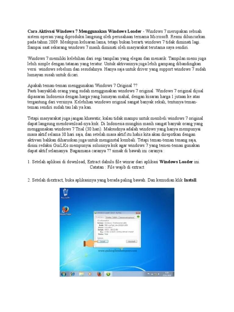 Cara Aktivasi Windows 7 Dengan Windows Loader : aktivasi, windows, dengan, loader, Aktivasi, Windows, Menggunakan, Loader