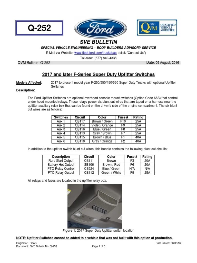 ford f series 2017 upfitter switch system switch relay rh es scribd com 2016 ford upfitter switches wiring diagram 2017 f250 upfitter switches [ 768 x 1024 Pixel ]