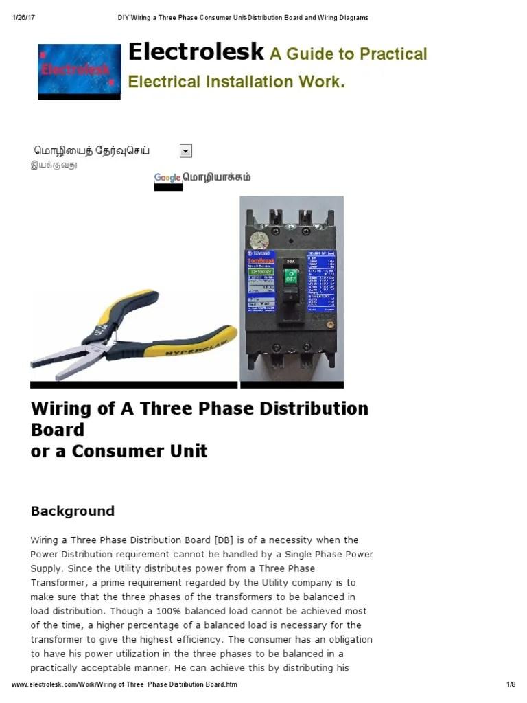 medium resolution of phase panel wiring diagram electrolesk work wiring diagram data diy wiring a three phase consumer unit