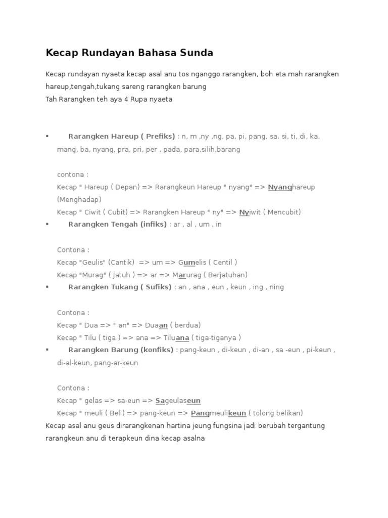 Kecap Nu Teu Ngandung Rarangken Tengah Nyaeta : kecap, ngandung, rarangken, tengah, nyaeta, Kecap, Rundayan, Bahasa, Sunda