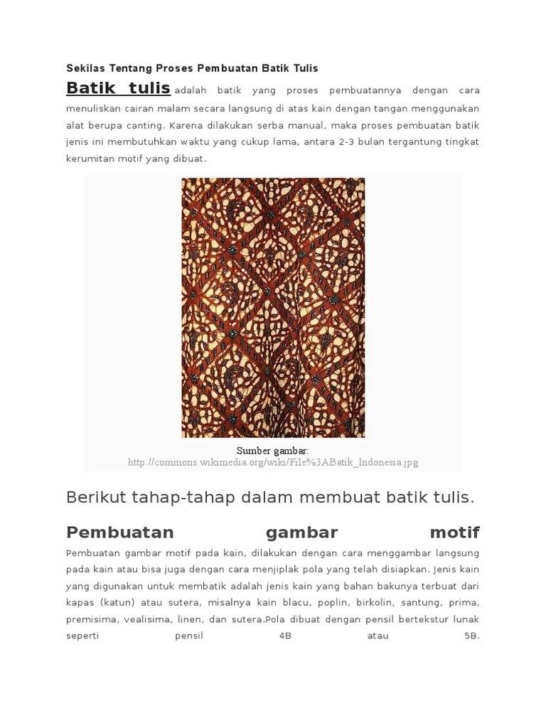 Tahapan Pembuatan Batik Tulis : tahapan, pembuatan, batik, tulis, Sekilas, Tentang, Proses, Pembuatan, Batik, Tulis