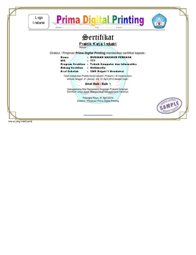 Desain Sertifikat Pkl : desain, sertifikat, Contoh, Sertifikat, Prakerin, Cute766
