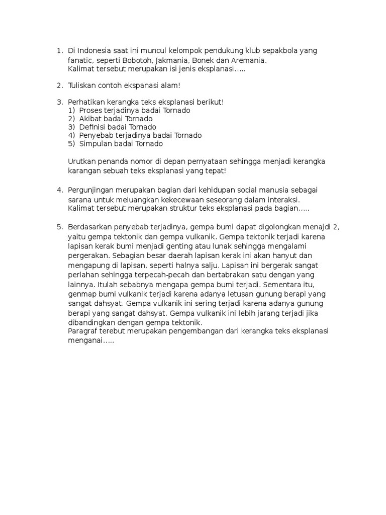 Soal Uraian Teks Deskripsi : uraian, deskripsi, Essay, Bahasa, Indonesia, Kelas, Tentang, Eksplanasi