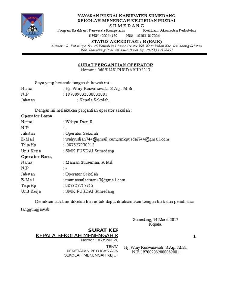 Contoh Surat Permohonan Pergantian Rekening Dana Bos Sekolah