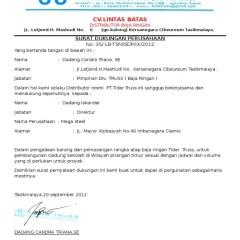 Agen Baja Ringan Tasikmalaya Contoh Srt Dukungan Docx