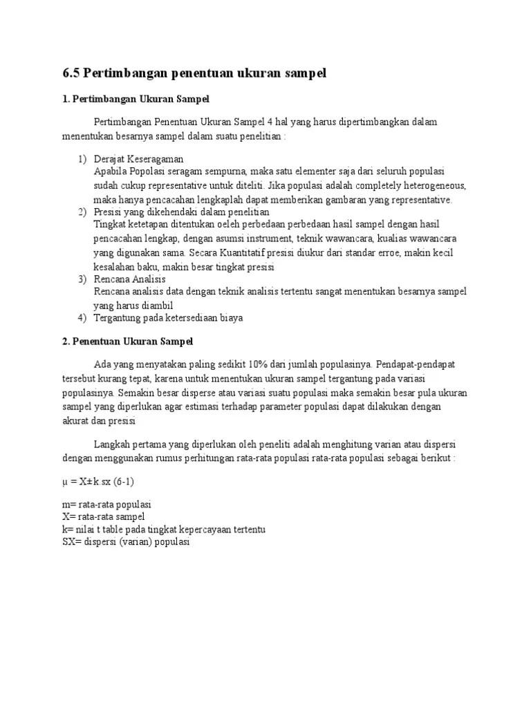 Menentukan Ukuran Sampel : menentukan, ukuran, sampel, Pertimbangan, Penentuan, Ukuran, Sampel