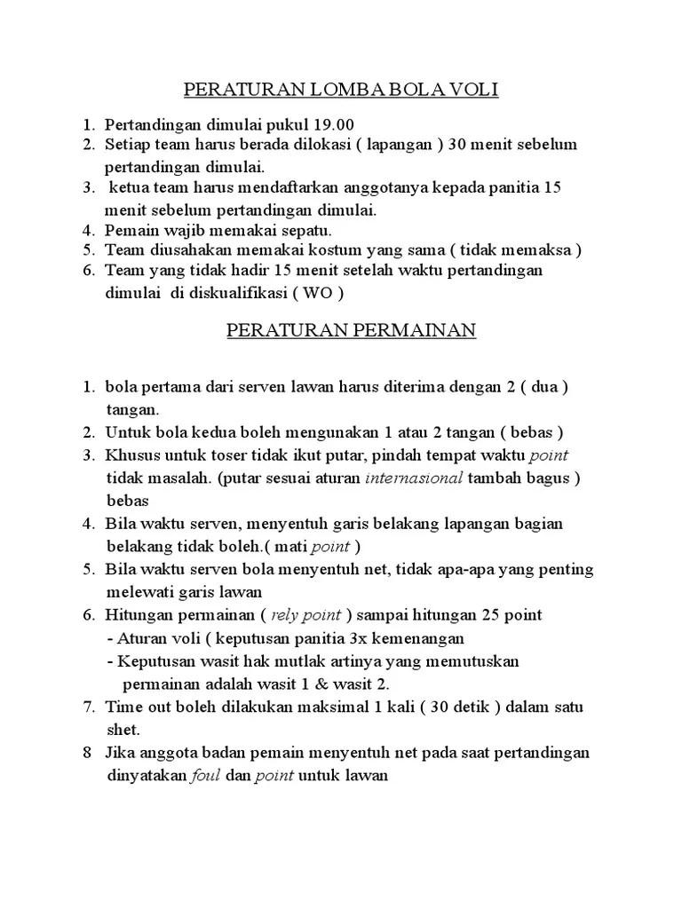 Peraturan Pertandingan Voli : peraturan, pertandingan, Peraturan, Lomba