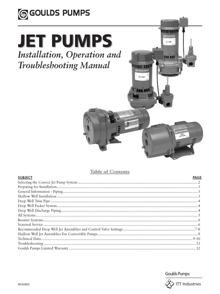 jet pump installation operation manual pdf pump pipe fluid conveyance  [ 768 x 1024 Pixel ]