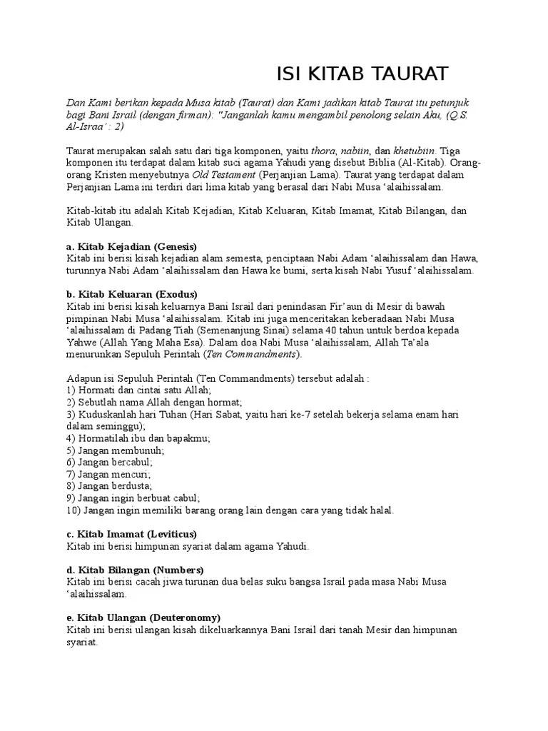 Kitab Taurat Berisi Tentang : kitab, taurat, berisi, tentang, Kitab, Taurat