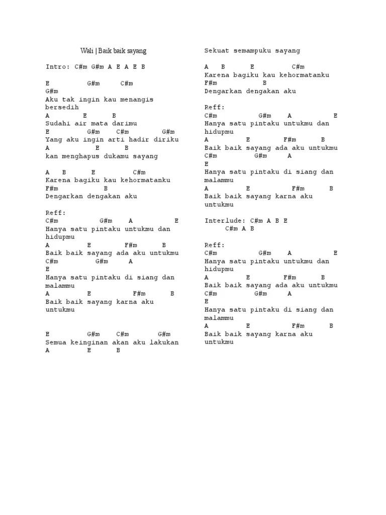 Chord Gitar Wali Baik Baik Sayang : chord, gitar, sayang, Chord, Sayang