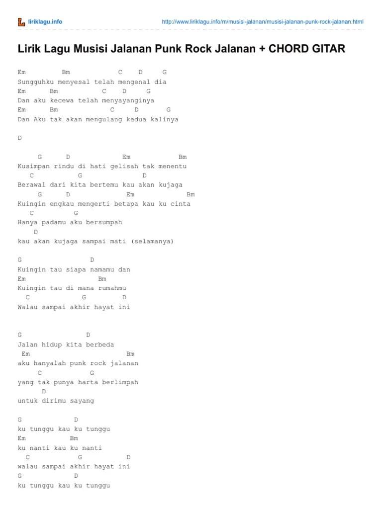 Chord Gitar Punk Rock Jalanan : chord, gitar, jalanan, Lirik, Musisi, Jalanan, CHORD, GITAR