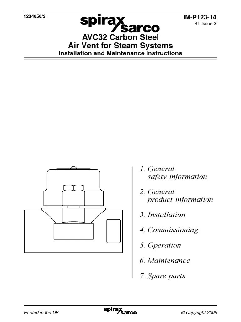 avc32 carbon steel air vent for steam systems installation maintenance manual valve pipeline transport [ 768 x 1024 Pixel ]