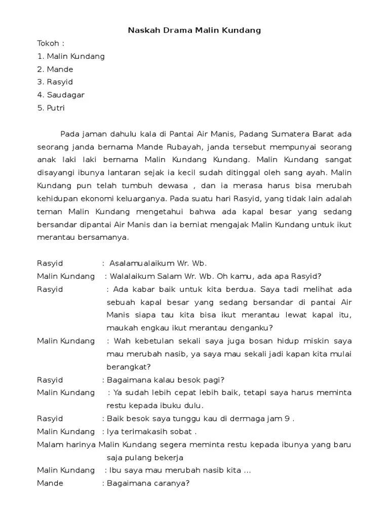 Naskah Drama Malinkundang : naskah, drama, malinkundang, Naskah, Drama, Malin, Kundang