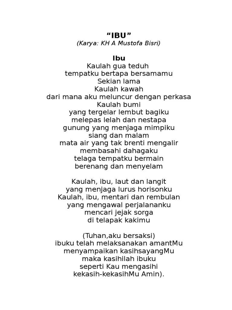 Teks Puisi Ibu Karya Mustofa Bisri : puisi, karya, mustofa, bisri, Karya:, Mustofa, Bisri)