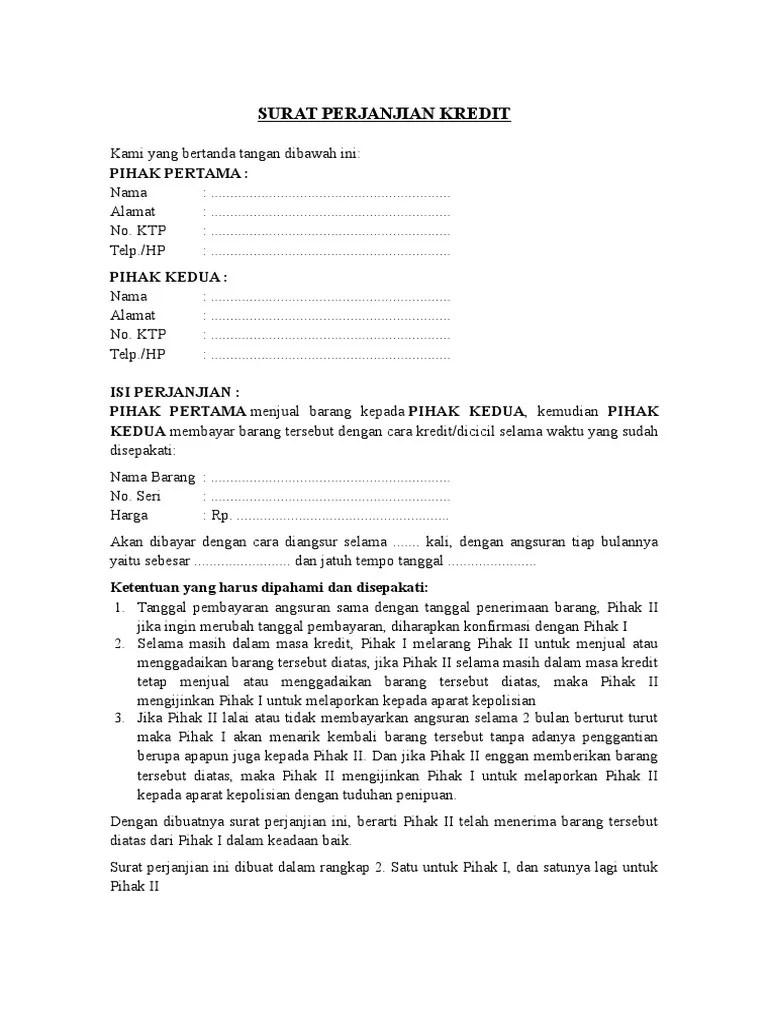 Surat Perjanjian Kredit Hp - atirta13.com