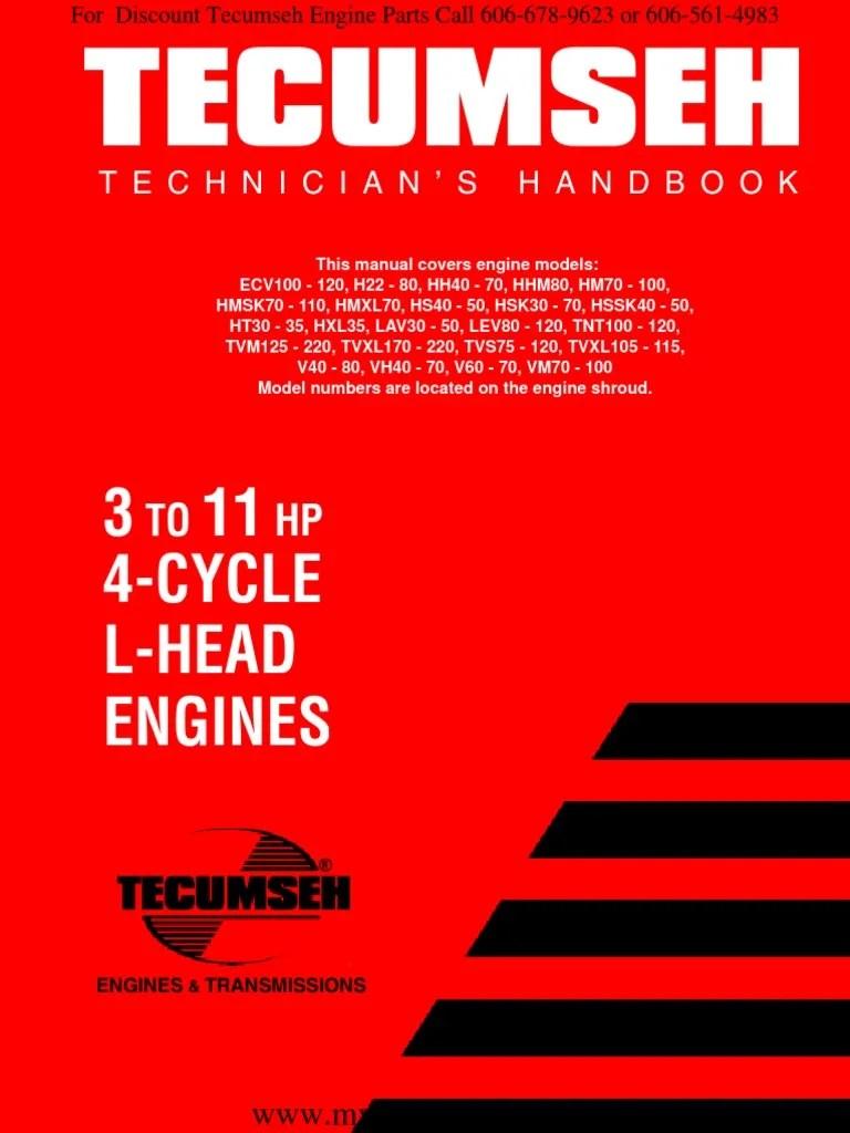 tecumseh service repair manual 3hp to 11hp 4 cycle l head flat head engines 692509 1 pdf carburetor ignition system [ 768 x 1024 Pixel ]
