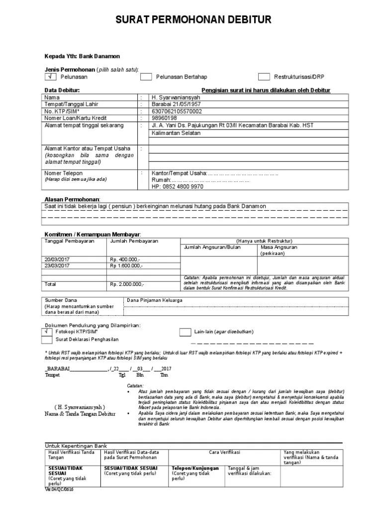 Contoh Surat Permohonan Restrukturisasi Kredit : contoh, surat, permohonan, restrukturisasi, kredit, Surat, Permohonan, Debitur, Version