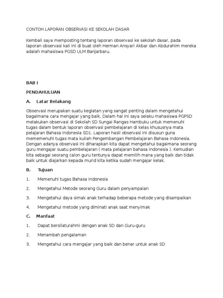 Contoh Pendahuluan Laporan Observasi Di Sekolah Ppl Contoh Makalah Edukasi Baru Cute766