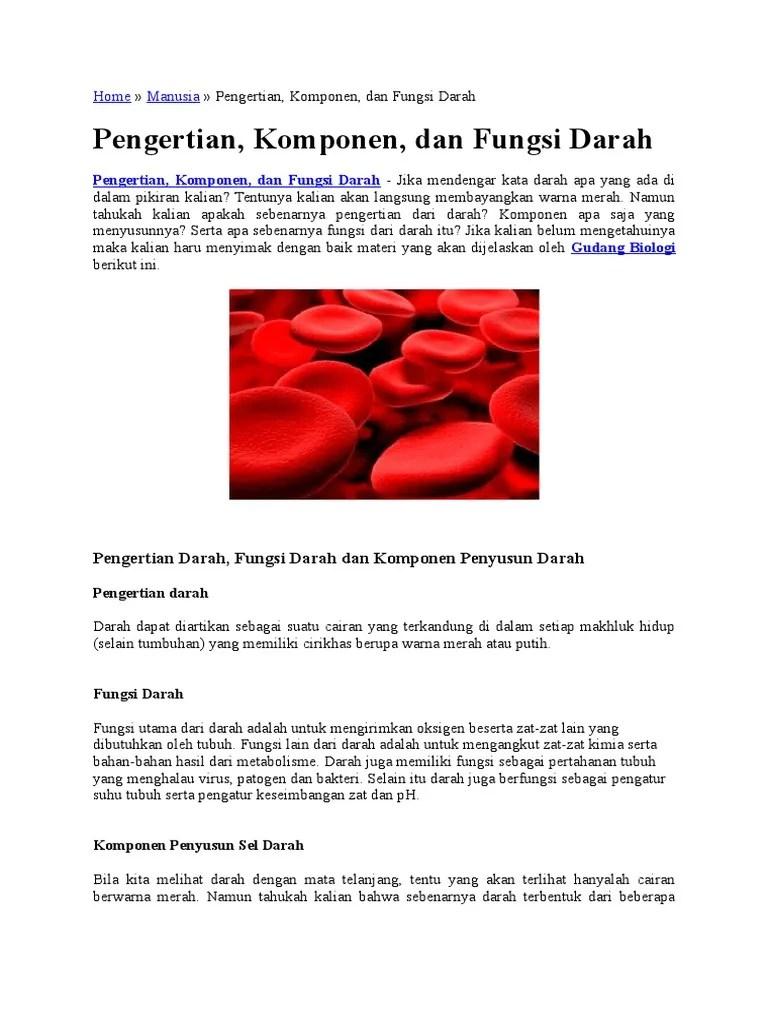 Sebutkan Fungsi Darah Bagi Tubuh Kita : sebutkan, fungsi, darah, tubuh, Komponen, Darah