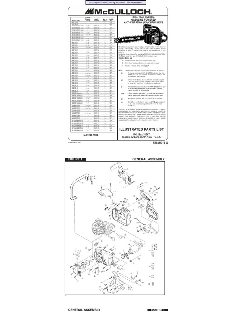 moldel 10 10 mcculloch chainsaw diagram of carburator [ 768 x 1024 Pixel ]