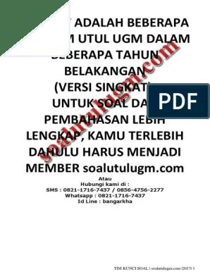 Soal Utul Ugm : Download, Bonus, Soal+pembahasan, TKDU+TKPA