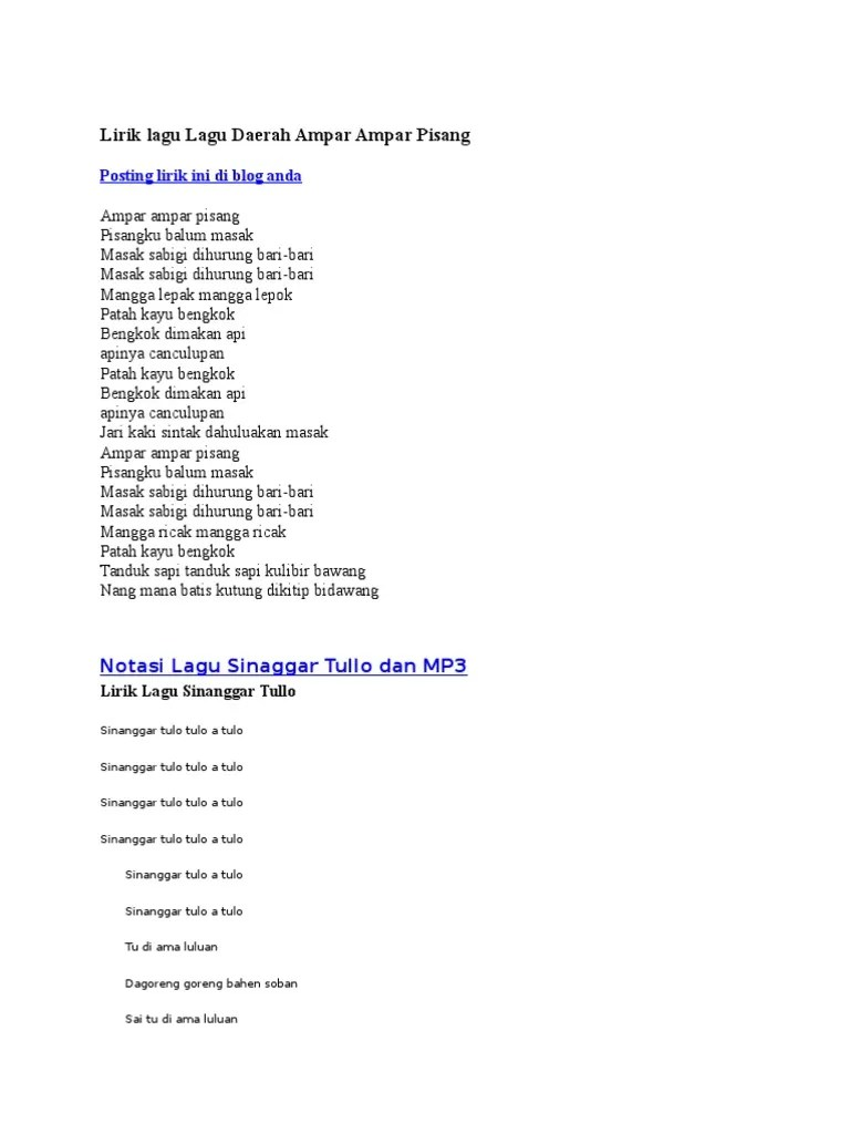 Lirik Sinanggar Tulo : lirik, sinanggar, Lirik, Ampar2, Pisang