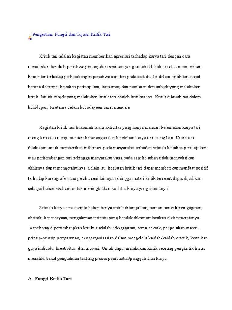 Tujuan Kritik Tari : tujuan, kritik, Kritik