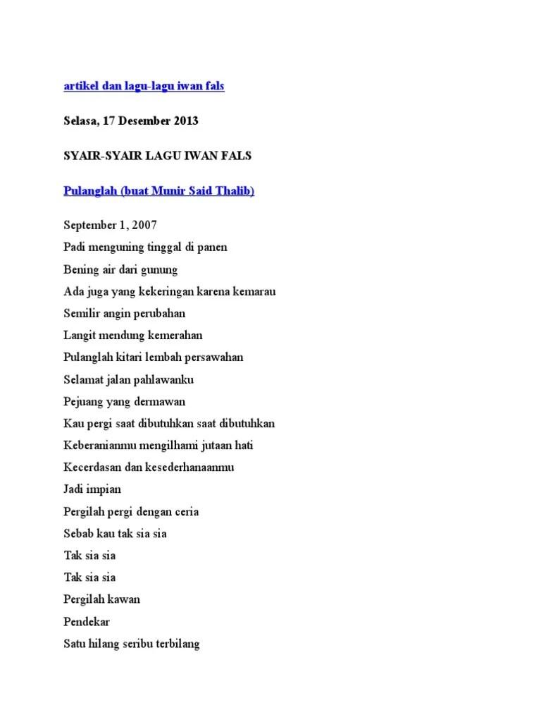 Lirik Lagu Simpang Lima : lirik, simpang, Artikel, Fales