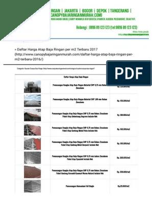 harga baja ringan 2017 depok daftar atap per m2 tahun
