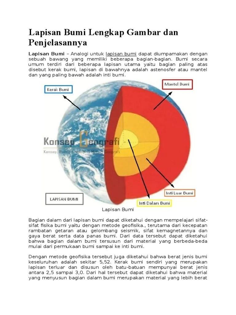Struktur Lapisan Bumi Lengkap Dengan Gambar dan Penjelasannya