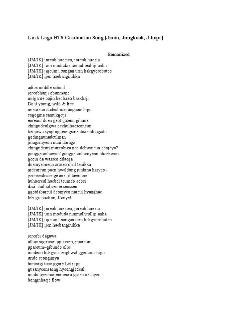 Lirik Lagu Let Go Bts : lirik, Lirik, Graduation