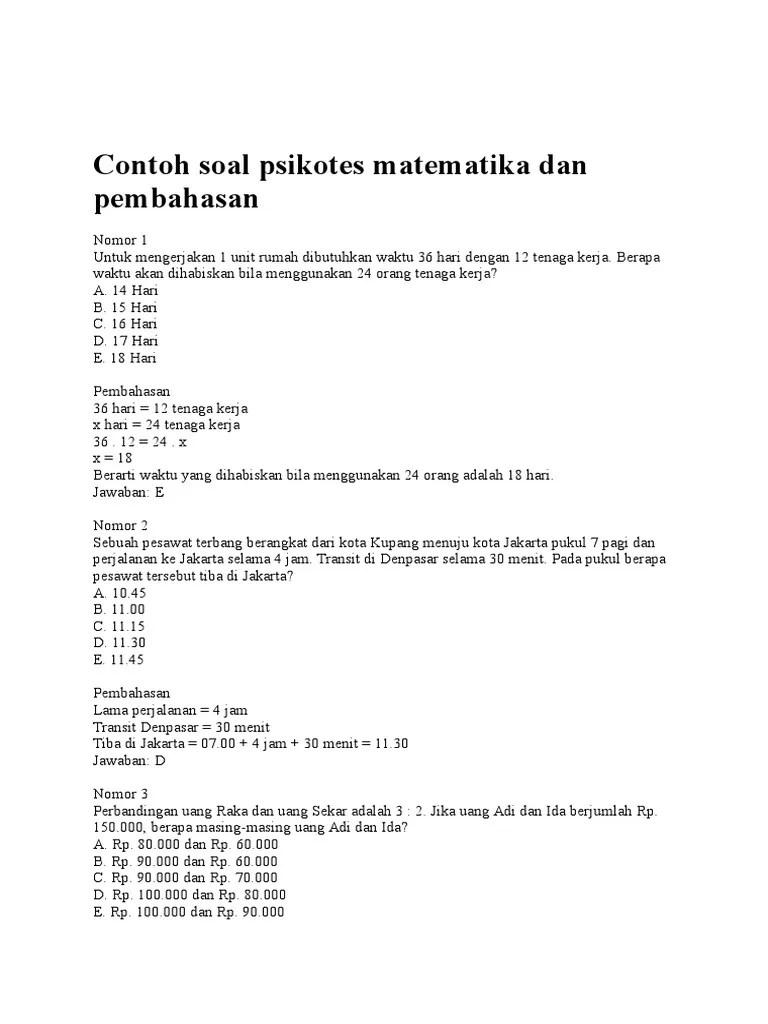 Contoh soal psikotes matematika dalam contohsoalku.com berisi berbagai tipe soal psikotes yaitu: 19 Contoh Soal Psikotes Matematika Dan Pembahasan Contoh Soal Terbaru