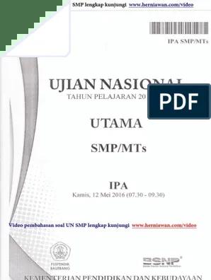 Soal Un Ipa 2016 Smp : Download, Pembahasan.pdf