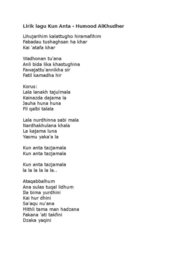 Lagu Humood Kun Anta : humood, Lirik, Humood, AlKhudher