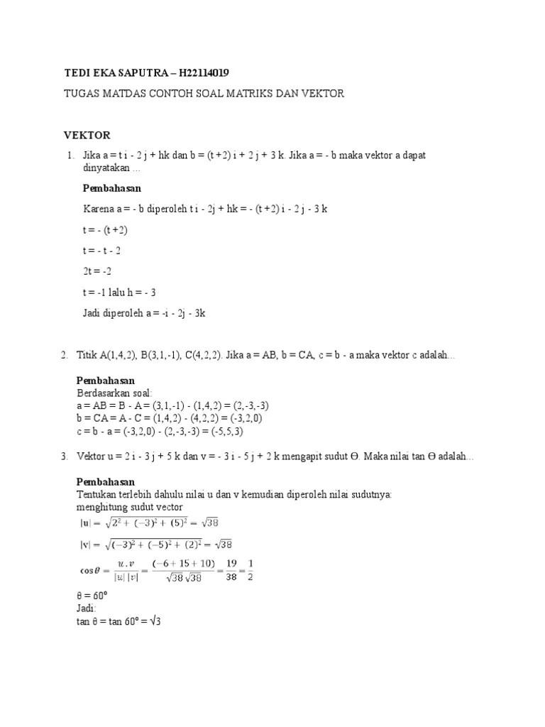Contoh Soal Vektor Dan Pembahasannya : contoh, vektor, pembahasannya, Contoh, Vektor, Matriks