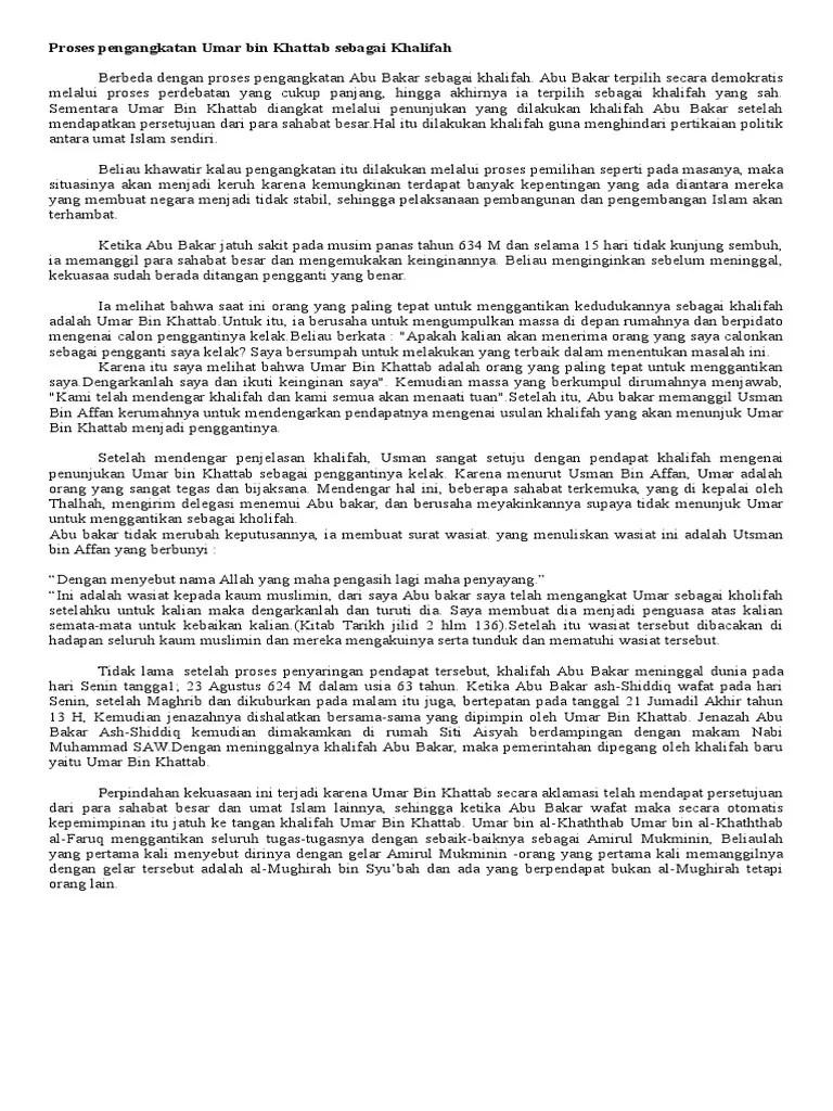 Proses Pengangkatan Umar Bin Khattab : proses, pengangkatan, khattab, Proses, Pengangkatan, Khattab, Sebagai, Khalifah