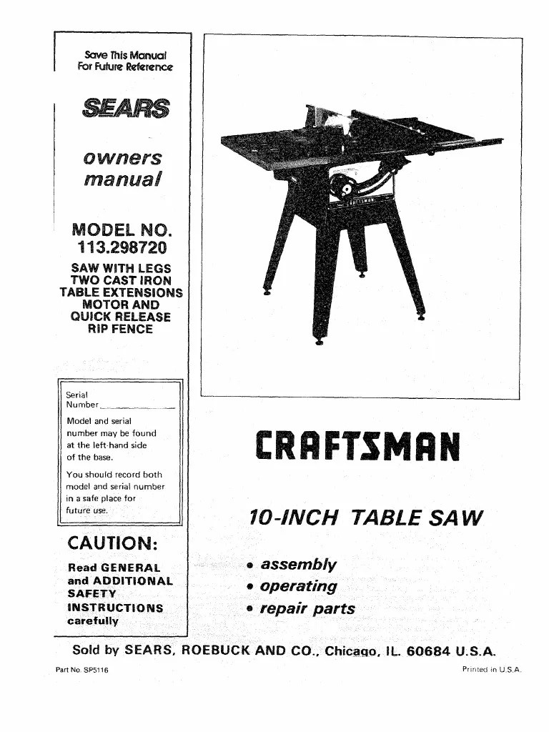 medium resolution of  diagram motion manual craftsman table saw model 113 298720 and 750 electrical on safety