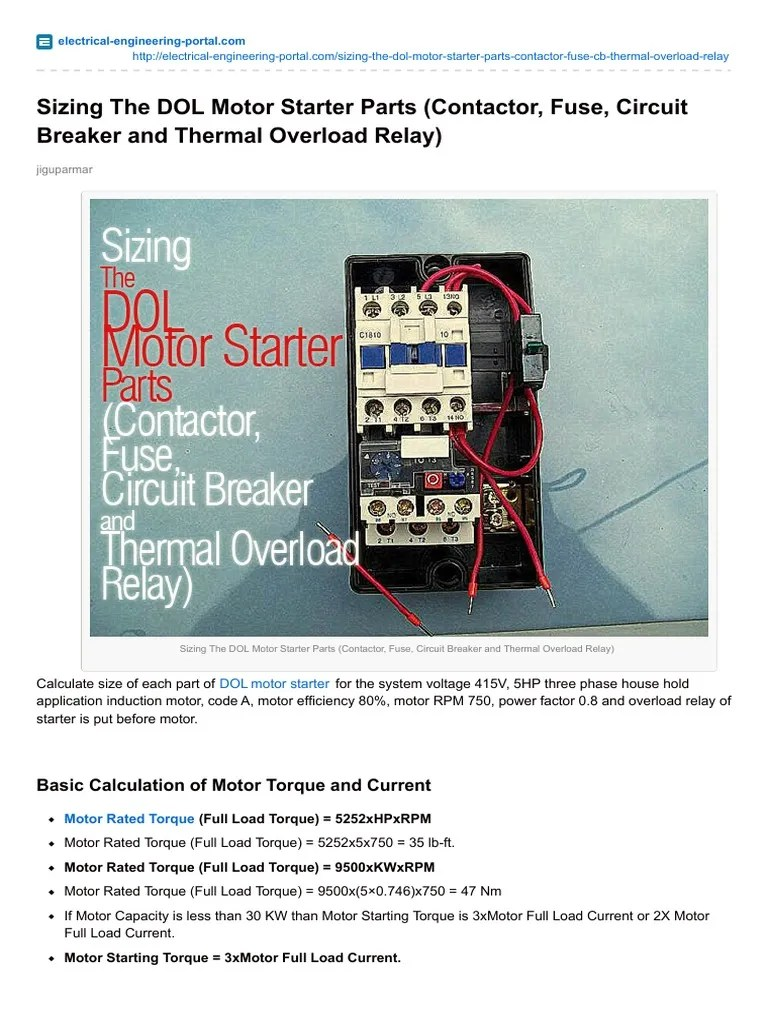 medium resolution of sizing the dol motor starter parts contactor fuse circuit breaker and thermal overload relay