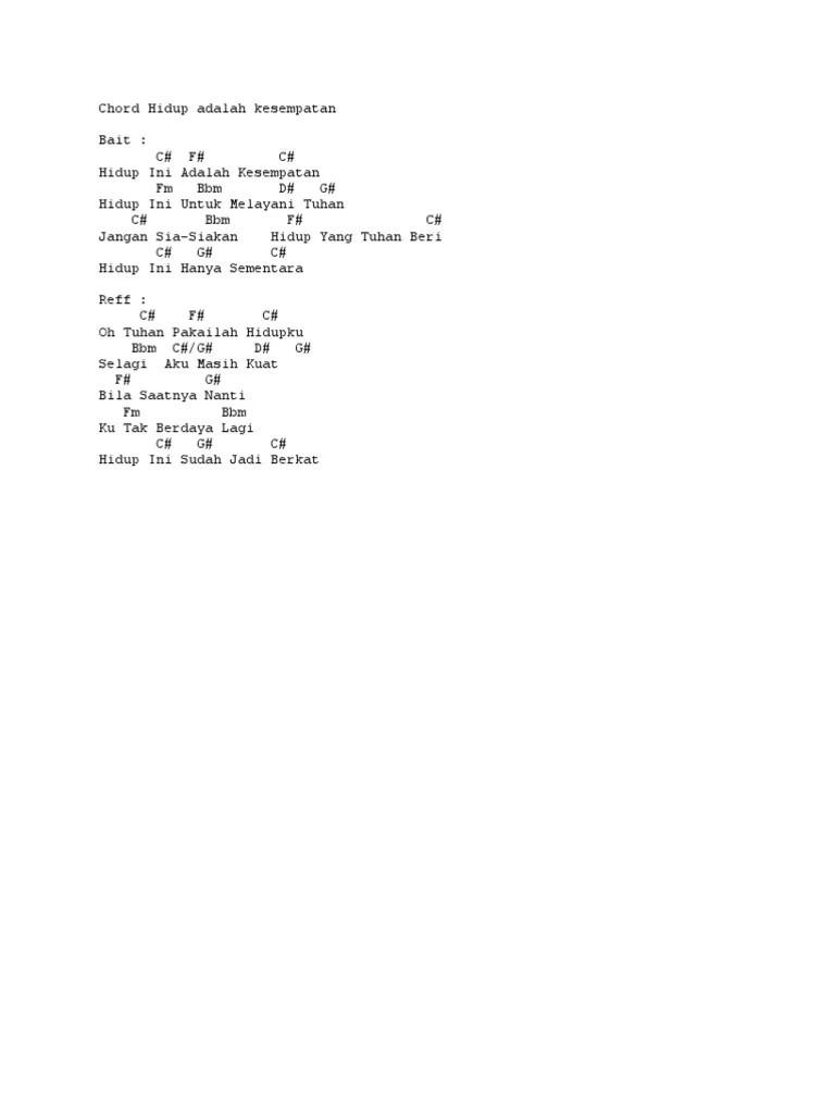 Kunci Lagu Hidup Ini Adalah Kesempatan : kunci, hidup, adalah, kesempatan, Chord, Hidup, Adalah, Kesempatan